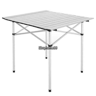 Aluminum Slat Table - Lightweight Aluminum Roll Slat Folding Table Portable Camp Beach Party Silver EH
