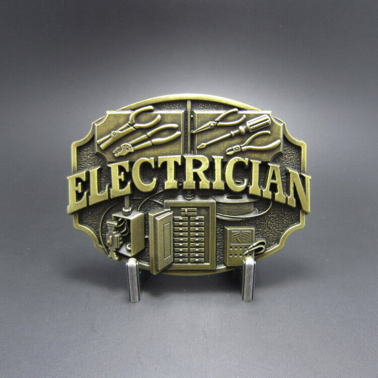 Electrician Tradesman Bronze Plated Metal Belt Buckle