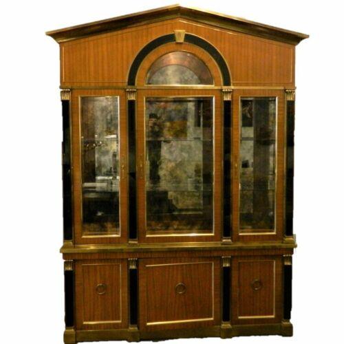 Mastercraft Vintage Modern Two Piece Brass & Wood China Display Cabinet