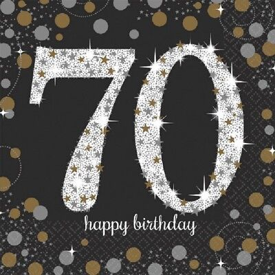 70th Luncheon Napkins Sparkling Celebration Birthday [16ct] Party Decorations - 70th Decorations