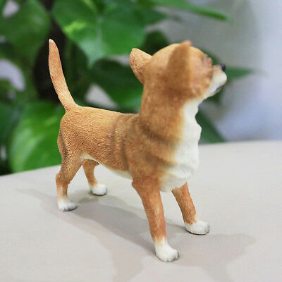 Resin MINI English Chihuahua dog Hand Painted simulation model Figurine Statue