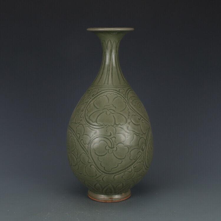 "13.2""China old Song dynasty Song ceramic kiln Engraving Jade pot spring bottle"