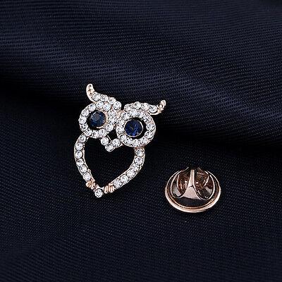 Eule Mond Kristall Brosche Pin Zarte Schmuck Damen Kleider Süß Accessoire Nett
