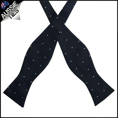 Black Pin Dot Self Tie Bow Tie Black Tie Bow Tie