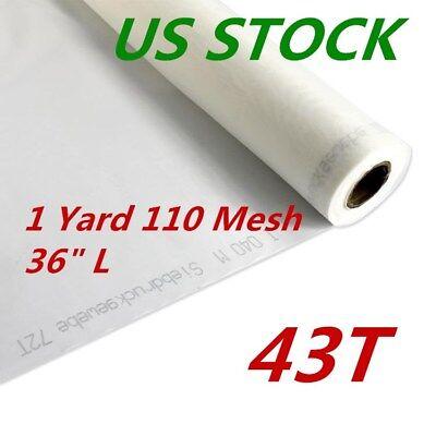 Us Stock 1 Yard White Silk Screen Printing Mesh Fabric 110 43t 110 36 L