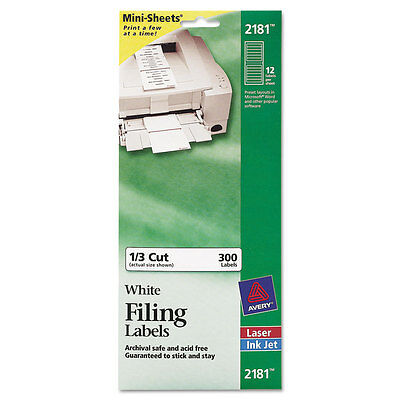 Avery White Filing Labels - Avery File Folder Labels on MiniSheets, 37/16 x 2/3, White, 300/Pack, PKAVE2181