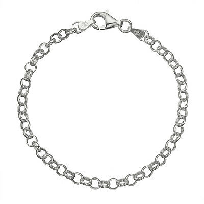 4mm Sterling Silver Cable Link - Solid 925 Sterling Silver 4mm Thick Italian Round Rolo Cable Link Chain Anklet