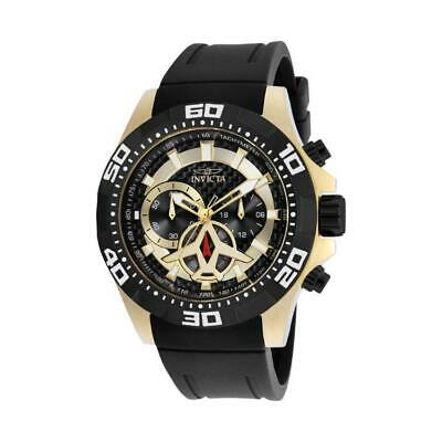 Invicta Aviator 21739 Mens Gold Tone/Black Polyurethane Carbon Fiber Dial Watch