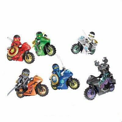 6 Sets Minifigures Ninjago Toys Ninja Cole JAY Lloyd Motorcycle Chariot Blocks