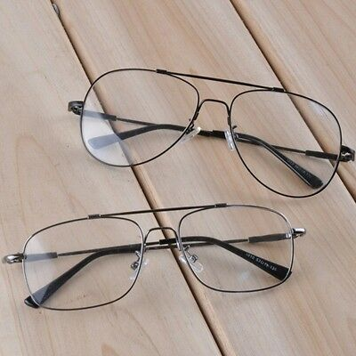 (Retro Aviator Eyeglass Frame Clear Lens Titanium Alloy Double Bridge Black Grey)
