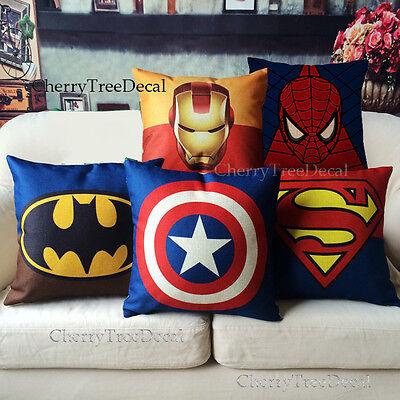 """Super Hero Avengers Cotton Linen Cushion Cover Throw Pillow Case Home Decor 18"""""""