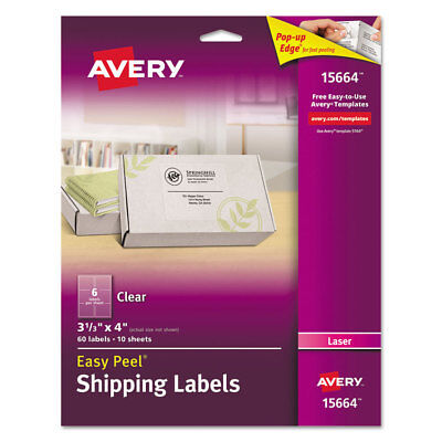 Avery Clear Easy Peel Mailing Labels Laser 3 13 X 4 60pack 15664
