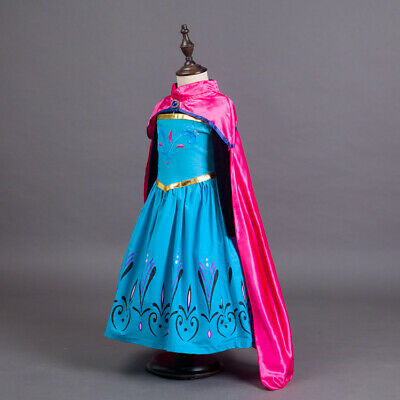 Elsa Anna Princess Dress Frozen Dresses Girls Costume Party Fancy Snow Queen ZG9 (Elsa & Anna Costumes)