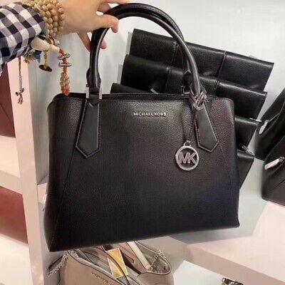 NWT Michael Kors Kimberly  Black Pebbled Leather LARGE Satchel Tote Shoulder Bag