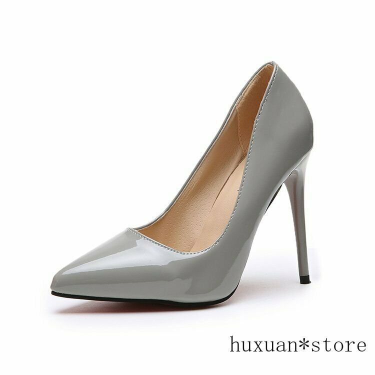 как выглядит Women High-heeled Fine Shoes Patent Leather Pointed Large Size Cross-dress New фото