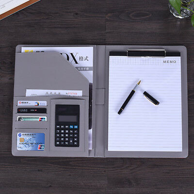 Pu Leather Business Portfolio A4 File Clip Folder Document Organizer Card Holder