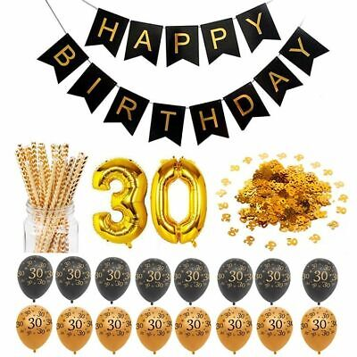 (Happy Birthday Party Decorations Adult Customized Gold Black Anniversary Decor)