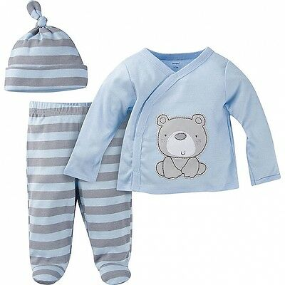Gerber Baby Boys New 3 Piece Take Me Home Outfit Various Sizes Striped Bear