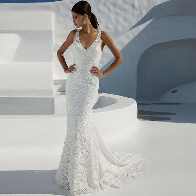 Women Deep V Neck Sexy Lace Wedding Dresses Bridal Gowns Backless Sleeveless