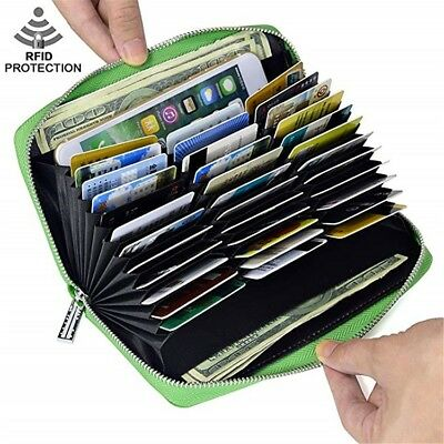 Mens/Womens Leather Large Capacity Credit ID Card Holder RFID Blocking Wallet Large Credit Card Wallet