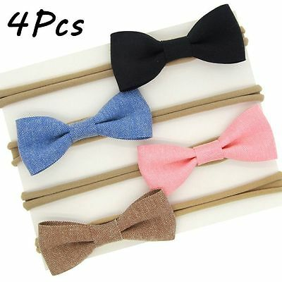 4Pcs Kids Girls Baby Headband Toddler Bowknot Hair Band Accessories Headwear New