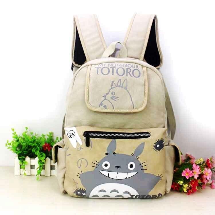 Anime Totoro Shoulder Backpack Canvas School Bag Laptop Travel Rucksuck Satchel