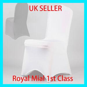 blanc spandex lycra housse de chaise couvres mariage f te banquet anniversaire ebay. Black Bedroom Furniture Sets. Home Design Ideas