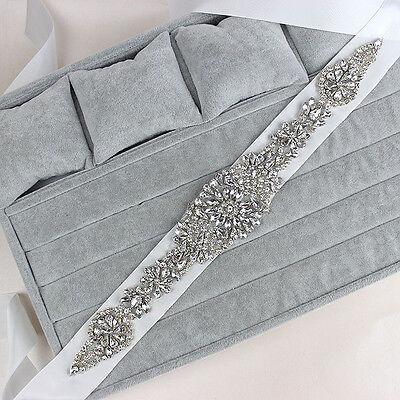 Wedding Dress Bridal Sash Belt Crstal Rhinestone White Waist Belt-Fashion