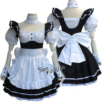 �dchen Kostüme Cafe Kellner Uniformen Maid Kleid mit Schürze  (Weiß Viktorianischen Kleid Kostüm)