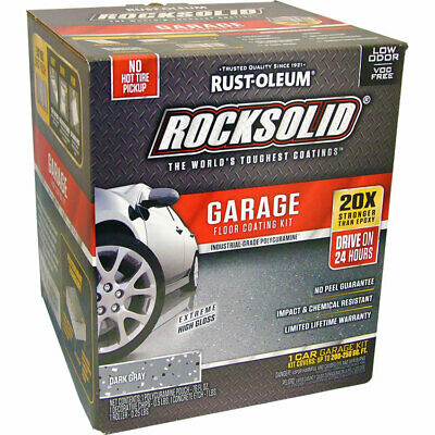 - RockSolid Garage Floor Coating Dark Gray Kit for 1 Car Garage 200 - 250 sq ft
