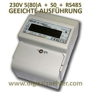 PORTOFREI  LCD Wechselstromzähler Stromzähler MID GEEICHT 5(50)A, S0. Hutschiene