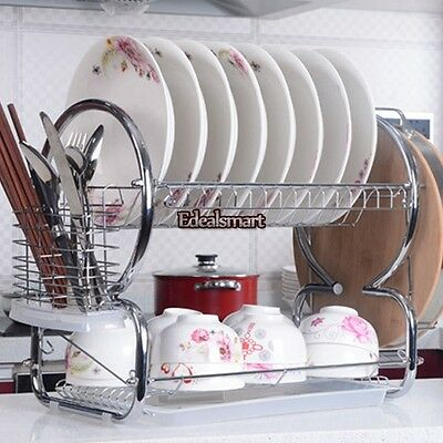 20.5 Stainless Steel 2 Tiers Dish Cup Drying Rack Draining Tray Utensil Holder