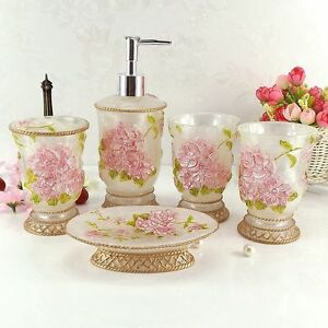 Rose bathroom accessories ebay for Pink bathroom accessories sets