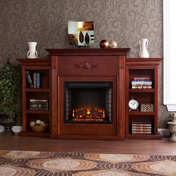 tv stand entertainment center media storage bookcase with fireplace remote ebay. Black Bedroom Furniture Sets. Home Design Ideas