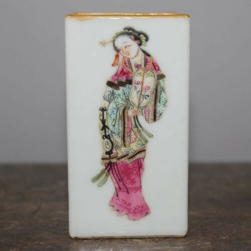 Chinese Old Marked Famille Rose Character Beauties Pattern Porcelain Brush Pot