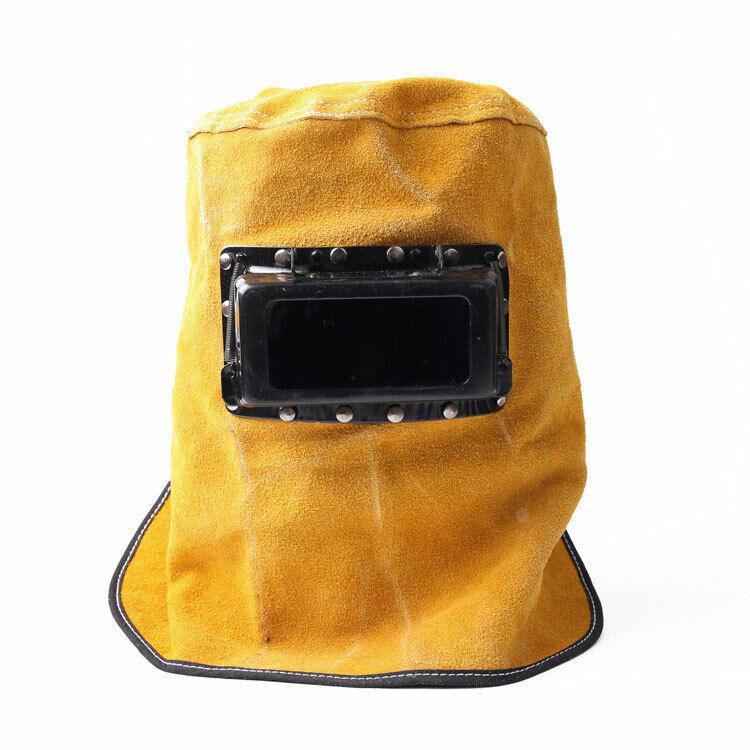 Soft Full Protective Leather Lens Welder Welding Hood Mask Helmet Eye Glasses