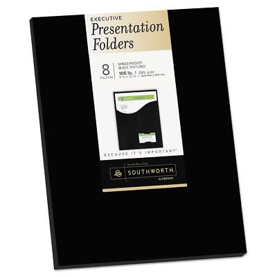 Southworth One-pocket Presentation Folders 8 12 X 11 Black 8pack 98873