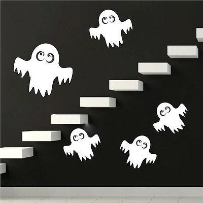 Ghost Wall Decals Wallpaper Spooky Halloween Seasonal Decorations Vinyl, - Halloween Ghosts Wallpaper