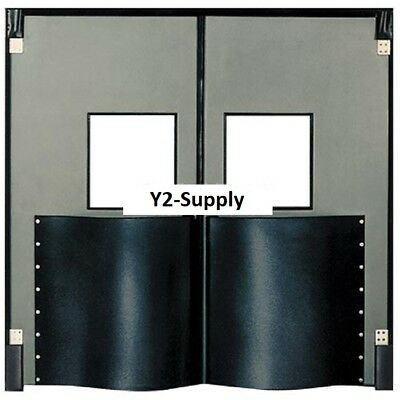 New Chase Doors Extra Hd Double Panel Traffic Door 6w X 7h Metallic Gray