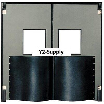 New Chase Doors Extra Hd Double Panel Traffic Door 8w X 8h Metallic Gray