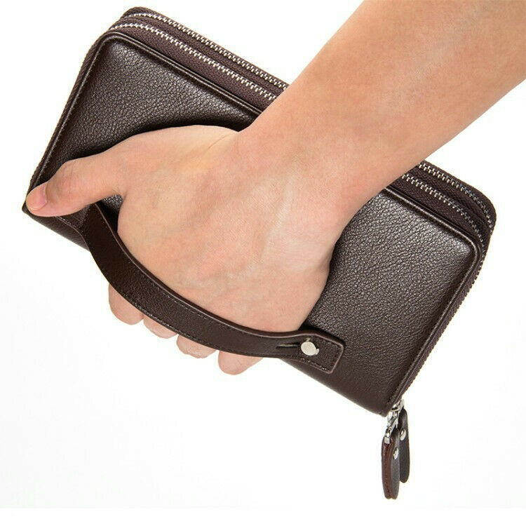 Business Mens Genuine Leather Wallet Zip Clutch Purse Card Holder Handbag Big Clothing, Shoes & Accessories