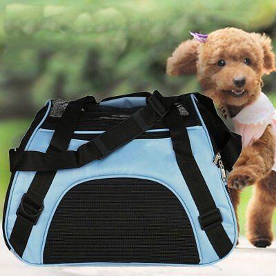 Pet Carrier Soft Sided Large Cat / Dog Comfort Blue Bag Travel Approved EK USA