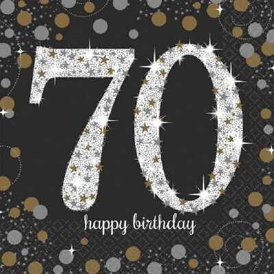 70th Luncheon Napkins Sparkling Celebration Birthday [16ct] Party Decorations