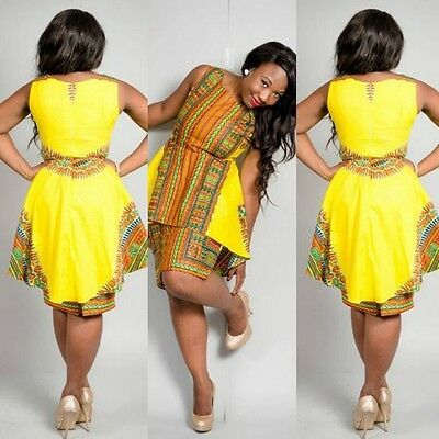 USA- Sexy African tranditional Print patchwork Evening party mini Dashiki Dress ()