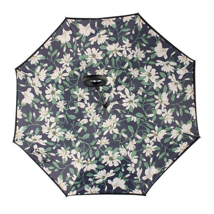 Neuf gardenia c poignée double couche inversée inverse envers bas parapluie u4
