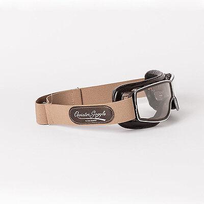Motorradbrille Aviator T2 Braun   klare Gläser   Leder Braun   Rahmen Gun