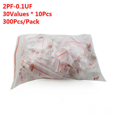 300pcs 30 Values 2pf-0.1uf Assorted Ceramic Capacitor Assortment Kit Set