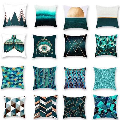Green Geometric Printing Sofa Cushion Cover Throw Pillow Case Home Decor ()