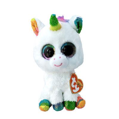 "6"" 2017 Pixy Ty Beanie Boos Unicorn White Colorful Glitter Stuffed Animals Toy"