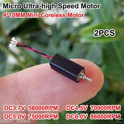 2pcs 4x10mm Dc 3.7v 5v 6v 86000rpm Ultrahigh High Speed Micro Coreless Dc Motor